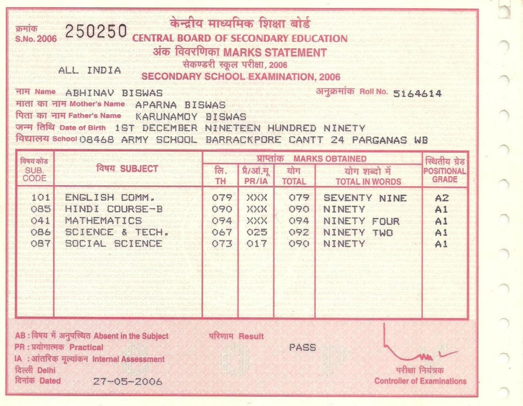 Class 10 Mark Sheet, Army School Barrackpore