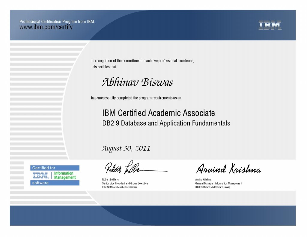ibm db2 certification certificates certified testimonials academic associate