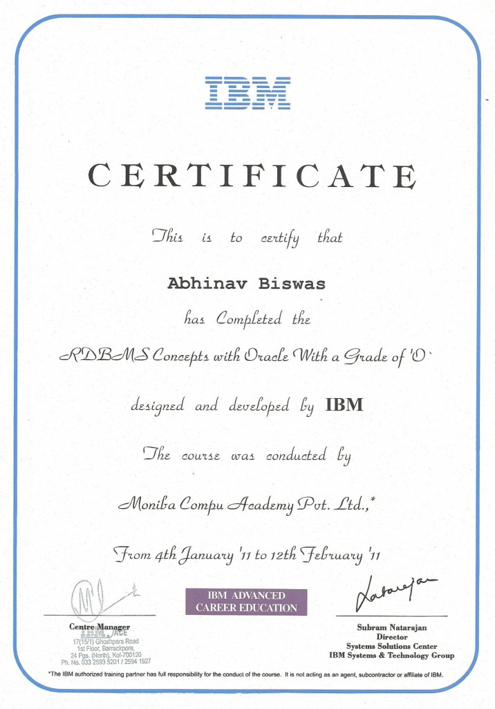Testimonials oracle rdbms certification by ibm yadclub Gallery