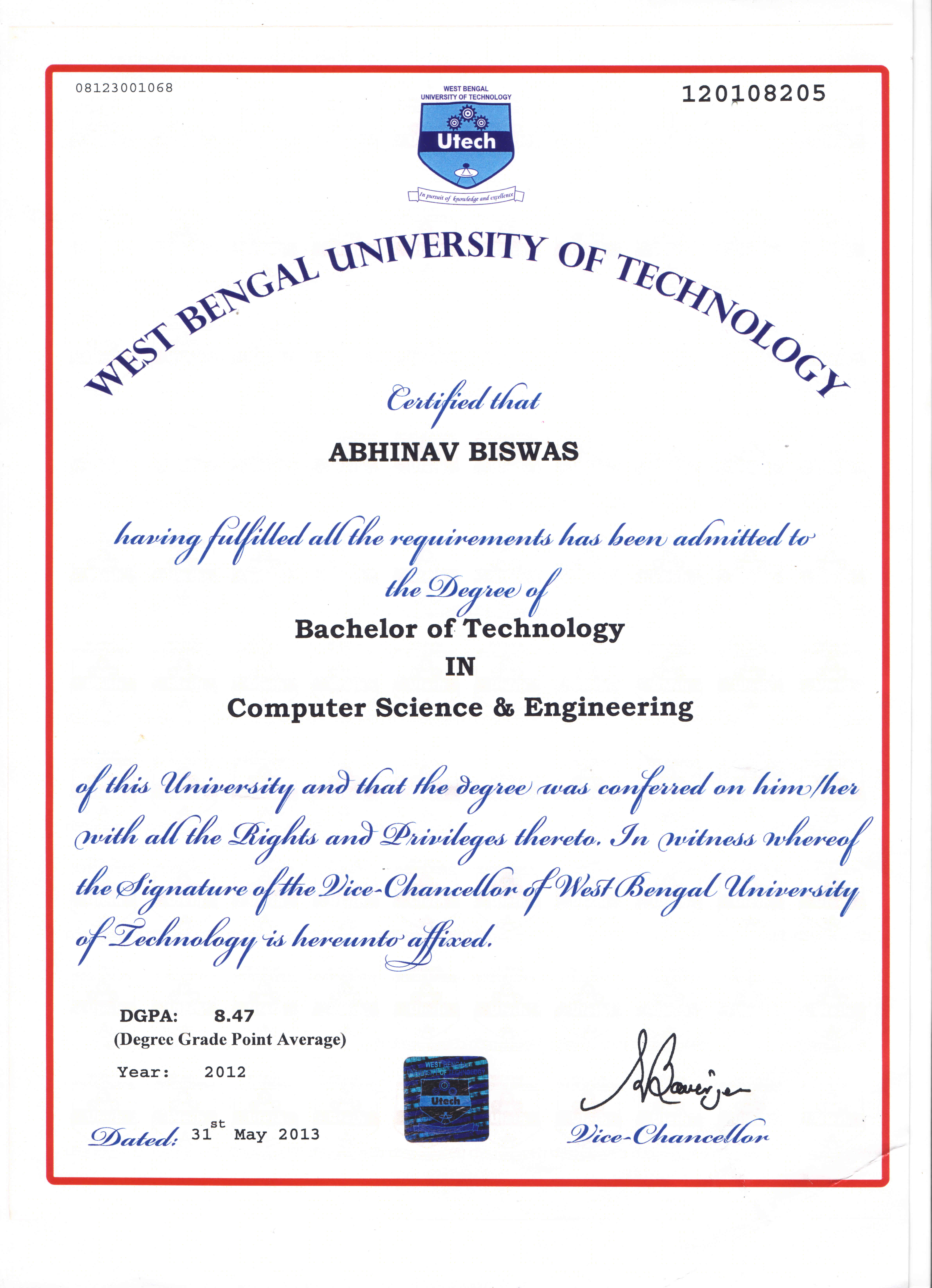 B.Tech Degree Certificate